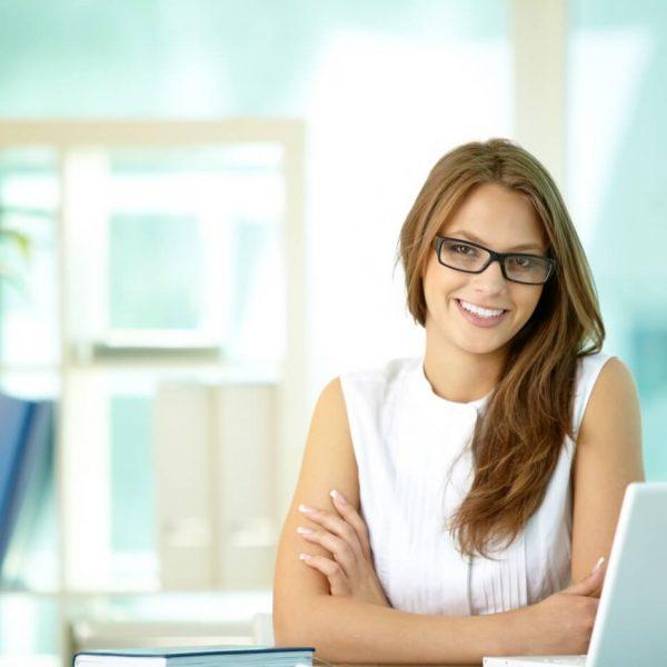 Woman at an office desk