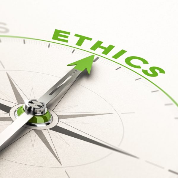Compass pointing to the word Ethics